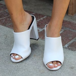 Shoes - 🆕️//The Tess// White vegan leather Mule